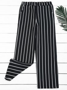 High Waisted Striped Wide Leg Pants - Stripe S