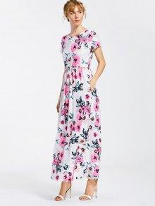Floral Print Round Collar Maxi Dress - White S