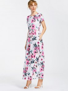 Floral Print Round Collar Maxi Dress - White 2xl