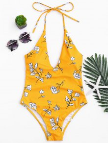 Printed V Neck Slimming One Piece Swimsuit - Mustard S