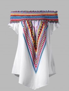 Colorful Elastic Off Shoulder Plus Size Tunic Blouse - White 2xl