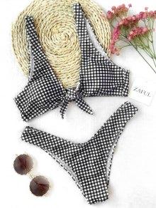 Front Tie Thong Plaid Bikini Set - Plaid S