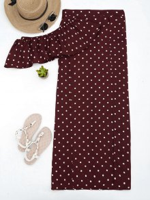 Polka Dot Off Shoulder Cropped Top And Maxi Skirt - Wine Red S
