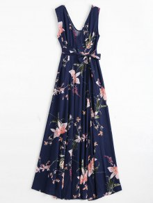 Self Tie High Slit Floral Maxi Surplice Dress - Purplish Blue L