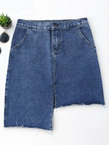 Slit Asymmetrical Denim Skirt - Denim Blue Xl