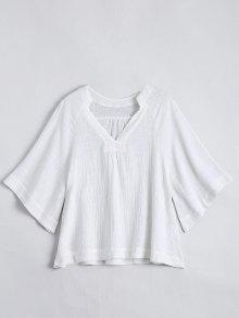 Three Quarter Sleeve V Neck Blouse - White S