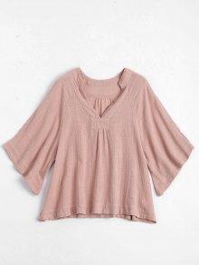 Three Quarter Sleeve V Neck Blouse - Pink M