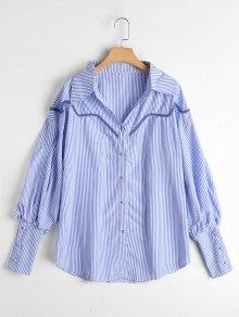 Puff Sleeve Button Up Striped Shirt - Light Blue S