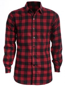 Mens Casual Checked Shirt - Red And Black M