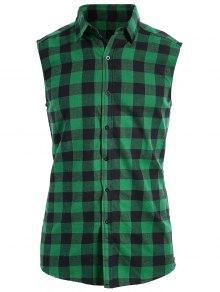 Checked Twill Mens Sleeveless Shirt - Green M
