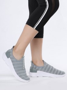 Breathable Mesh Letter Pattern Athletic Shoes - Gray 38