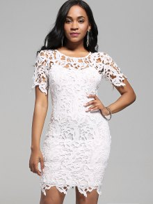 Lace Cutwork Pencil Dress With Cami Dress - White 2xl