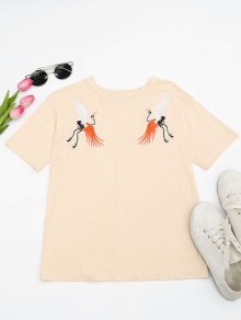Cotton Crane Embroidered T-Shirt - Light Yellow M