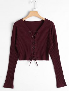 Lace Up Ribbed Knitted Crop Tee - Claret M