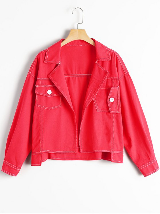 buy Oversized High Low Denim Jacket - RED M