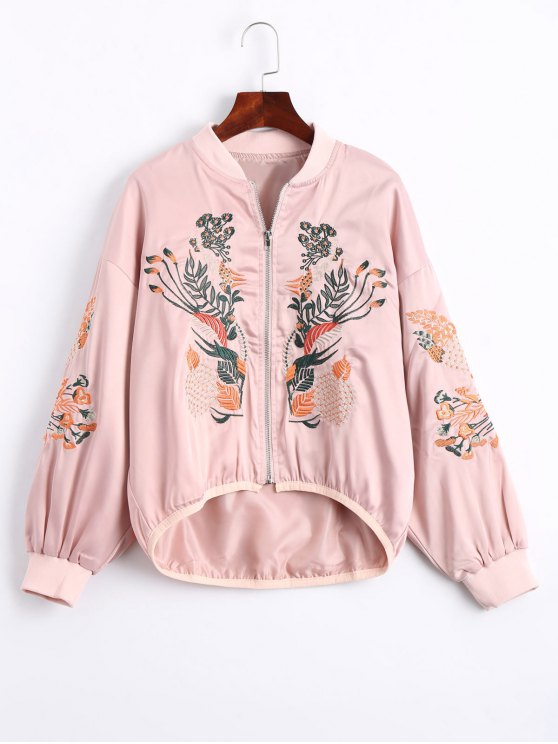 women Floral Embroidered High Low Bomber Jacket - PINK S