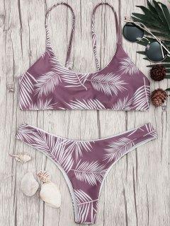 Palm Leaf Print Padded Bralette Bikini Set - Purple And White M