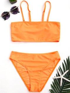 Padded High Cut Bandeau Bikini Set - Orange M