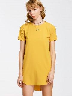 Bow Tie Mini Tunic Dress - Yellow L