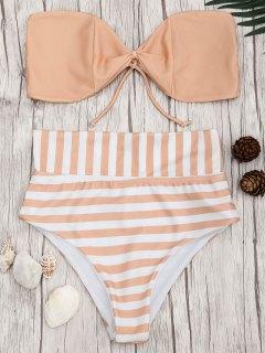 Bandeau Striped High Waisted Bikini Set - Orangepink L