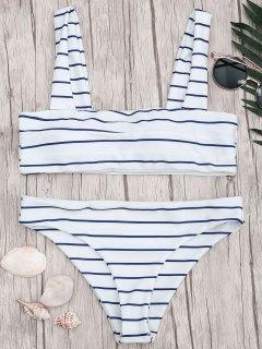 Nautical Striped Square Neck Padded Bikini Set - Blue And White S