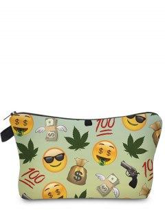 Emoji Print Makeup Bag - Light Green