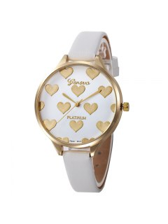 Heart Face Faux Leather Strap Watch - White