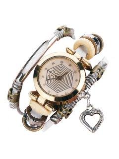 Rhinestone Heart Layered Charm Bracelet Watch - White