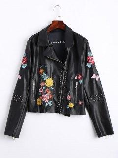 Floral Embroidered PU Leather Biker Jacket - Black M
