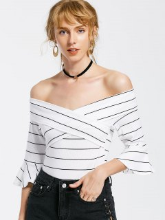 Off The Shoulder Flare Sleeve Striped Bodysuit - White M