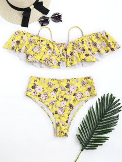 Floral Frilled High Waisted Bikini Set - Yellow M