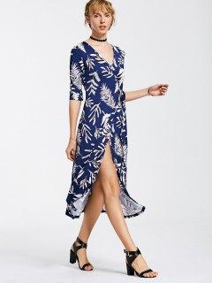 Leaves Print Mid Calf Wrap Dress - Deep Blue Xl