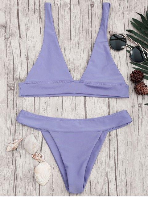 new Plunge Bikini Top and High Cut Bottoms - PURPLE M Mobile