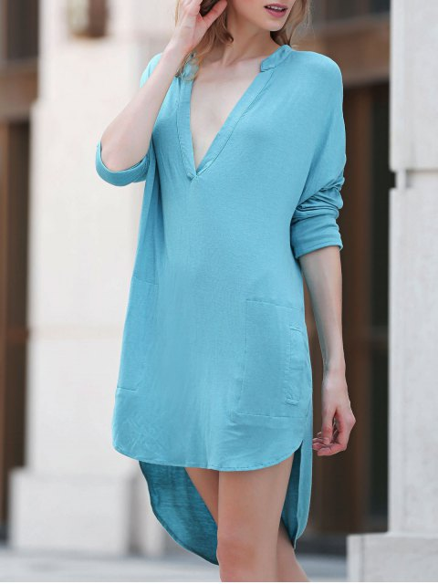 chic Low Cut Long Sleeve Plunge Dress - LAKE BLUE XL Mobile