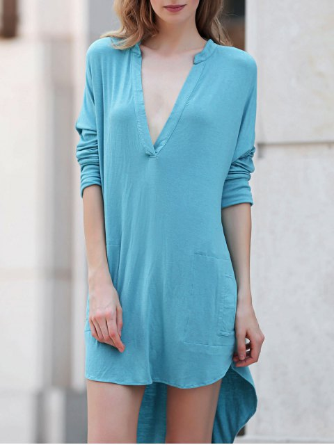 fashion Low Cut Long Sleeve Plunge Dress - LAKE BLUE L Mobile