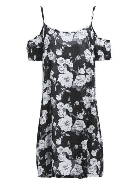 outfits Full Floral Print Cami A Line Dress - BLACK XL Mobile