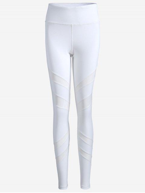latest Thigh Mesh Fit Sports Leggings - WHITE M Mobile