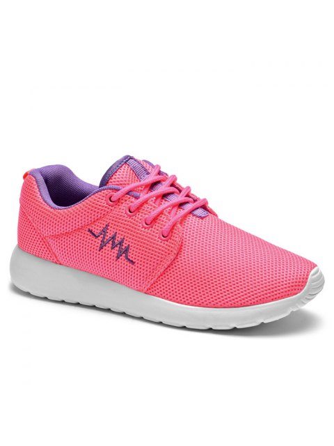 womens Embroidery Line Mesh Athletic Shoes - PEACH RED 39 Mobile