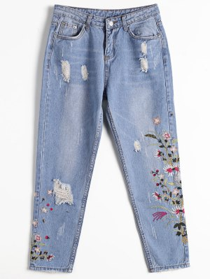 Destoryed Floral Embroidered Tapered Jeans - Denim Blue - Denim Blue S