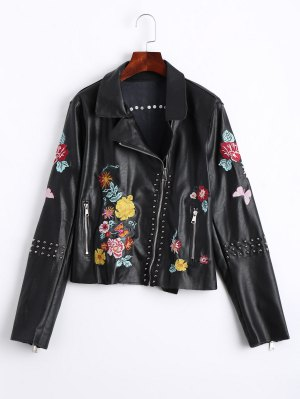 Floral Embroidered PU Leather Biker Jacket - Black - Black S