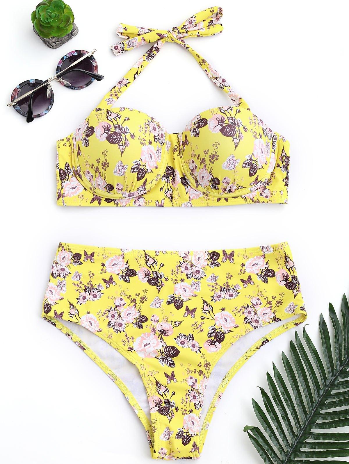Push Up Floral Underwire High Rise Bikini 220857701