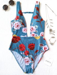ظهر يغرق الرقبة عالية قطع الزهور ملابس السباحة - الضوء الأزرق L