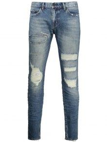 Vintage Men Ripped Jeans - Denim Blue 34