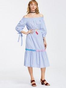 Stripes Off Shoulder Midi Dress - Stripe S