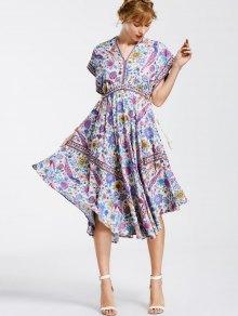 Empire Waist Batwing Floral Midi Dress - Floral S