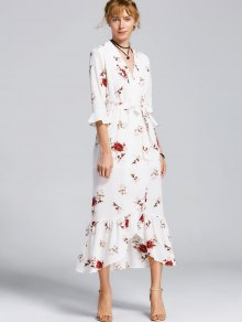 Buy High Slit Floral Belted Maxi Dress - WHITE S