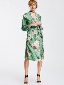 Kimono Floral Belted Duster Coat - Floral L