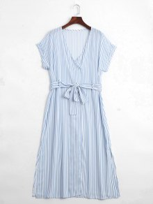 Stripes Belted Half Buttoned Midi Dress - Stripe M