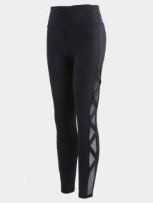 Bandage Mesh Workout Leggings - Black S