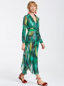 High Slit Tropical Beach Maxi Dress - Green S